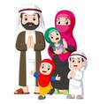 a muslim family giving greeting forgiveness vector image vector image