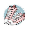 a pair of pink sneakers isolated on white vector image vector image