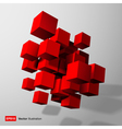 Abstract composition of red 3d cubes vector image vector image