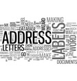 address lables useful tips text word cloud concept vector image vector image