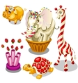 Animal sweets made of caramel and chocolate vector image vector image