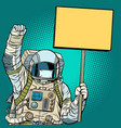 astronaut in a medical mask protests with a poster vector image vector image