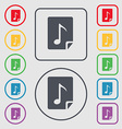 Audio MP3 file icon sign symbol on the Round and vector image
