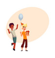 boys at birthday party black dancing caucasian vector image vector image