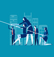 business team pull ropes concept business vector image vector image