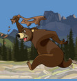 cartoon funny bear runs with pants in hand vector image vector image