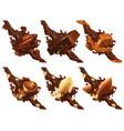 chocolate bar nuts caramel cocoa bean vector image vector image