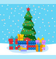 christmas and winter holidays pine with gifts vector image vector image