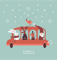 christmas santa rabbit deer and sq vector image