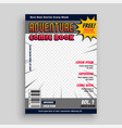 comic book magazine cover design template vector image