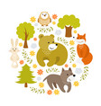 cute cartoon forest animals vector image vector image