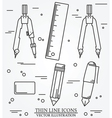 Drawing tools thin line icon set for web and mobil vector image vector image