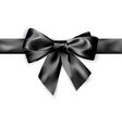 elegance black satin bow with ribbon isolated vector image vector image