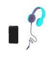 flat black modern smartphone headphones vector image