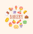 food sweets coffee shop bakery round fluent design vector image