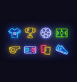 football icon set isolated soccer neon sign vector image vector image