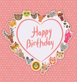 Funny Animals Happy birthday White heart on pink vector image vector image