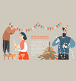 funny characters are preparing new year party vector image vector image