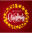 gift card with hand lettering merry christmas vector image vector image