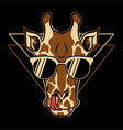 giraffe eyeglasses cartoon vector image vector image