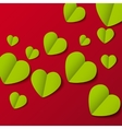 Green paper origami hearts Valentines day card on vector image vector image
