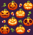 halloween seamless pattern with pumpkins on dark vector image