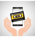 hand mobile phone cassette audio vector image