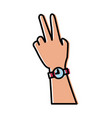 hand with wristwatch vector image vector image