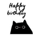Happy birthday card with black cat