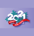happy new year 2021 card paper cut style vector image