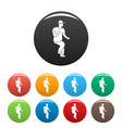 hip hop dancer icons set color vector image