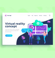 landing page template virtual reality concept with vector image