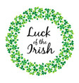 luck irish in shamrock circle frame vector image