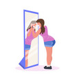 obese woman making up with lipstick in front vector image