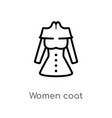 outline women coat icon isolated black simple vector image vector image