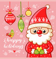 santa claus is holding a gift vector image