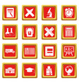 school icons set red vector image vector image
