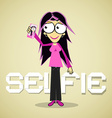 Selfie Photo - Girl or Woman With Cell Phone vector image vector image