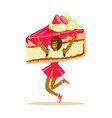 smiling woman wearing cake costume puppets food vector image vector image