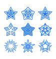 star logo template set blue geometric vector image