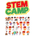 stem camp logo and set children with education vector image vector image