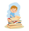 student boy learning and reading book vector image vector image