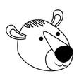 tiger cartoon head in monochrome silhouette vector image vector image