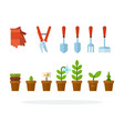 tools for garden and flowers in pots flat isolated vector image vector image