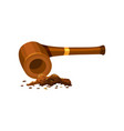 vintage wooden smoking pipe and shredded tobacco vector image vector image
