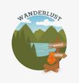 wanderlust label with campfire scene vector image vector image