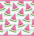 watermelon triangle slice kawaii fruits pattern vector image