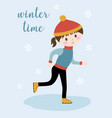 winter card with girl on skates vector image