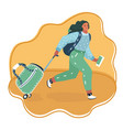 woman running with a suitcase cart vector image vector image