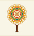 yoga tree concept people in meditation pose vector image vector image
